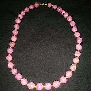 """Orchid/Pink Magnesite Necklace 23"""" long"""